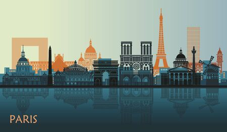 Stylized landscape of Paris with Eiffel tower, arc de Triomphe and Notre Dame Cathedral and other attractions