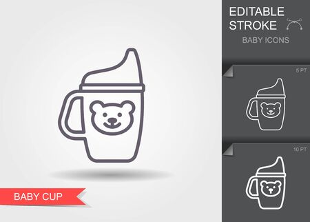 Baby cup. Line icon with editable stroke with shadow  イラスト・ベクター素材