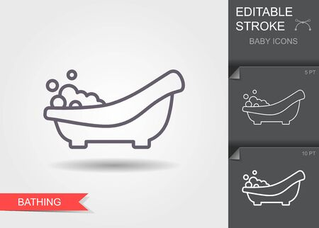 Baby bath with foam. Line icon with editable stroke with shadow Illustration