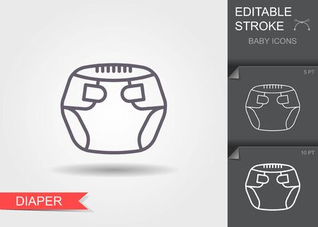 Baby diapers. Line icon with editable stroke with shadow