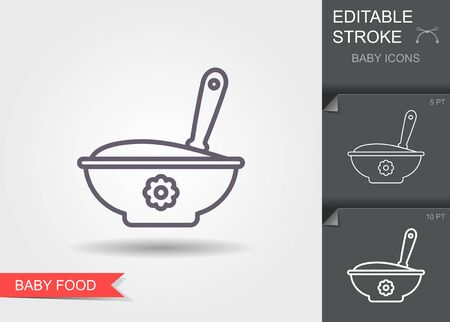 Baby spoon and bowl full of meal. Line icon with editable stroke with shadow