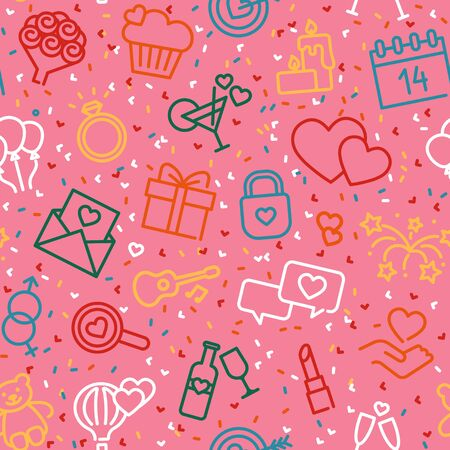 Seamless background with linear Valentine s day symbols Illustration
