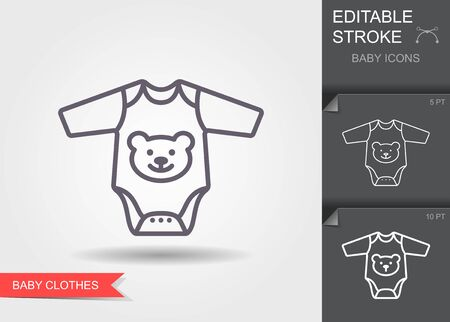Baby rompers. Line icon with editable stroke with shadow