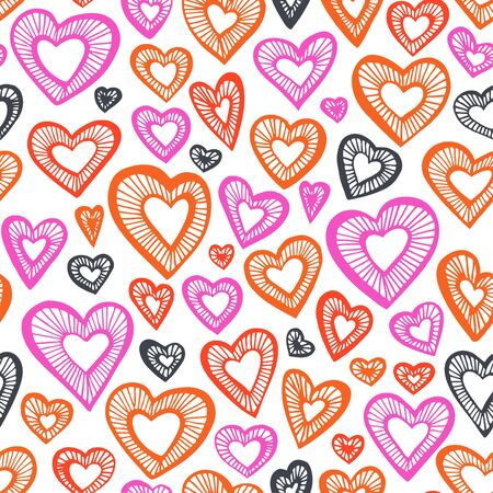 Hand drawn seamless pattern, decorative stylized hearts. Doodle style, tribal graphic illustration