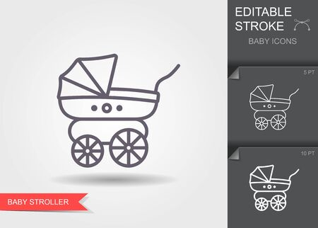 Baby stroller. Line icon with editable stroke with shadow