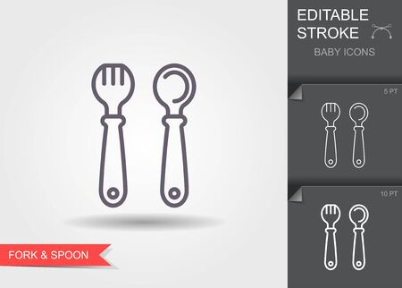 Baby spoon and fork. Line icon with editable stroke with shadow Ilustracje wektorowe