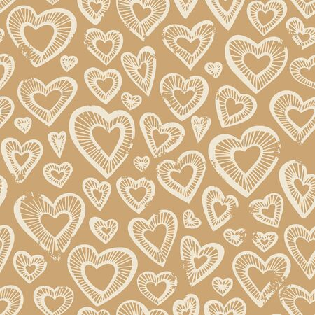 Hand drawn seamless pattern, decorative stylized hearts. Doodle style, tribal graphic illustration Cute hand drawing. Line drawing Series of doodle, cartoon, sketch illustrations Ilustração