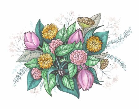 Floral abstract composition. Bouquet with hand drawn flowers and plants. Vector illustrarion