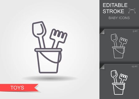 Vector baby bucket and sand shovel toy icon. Linear symbol with editable stroke with shadow