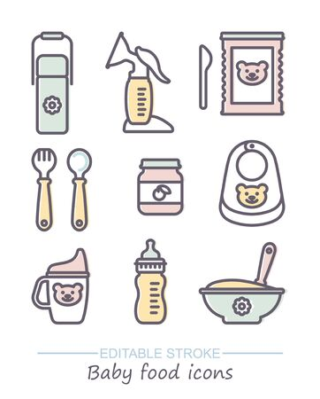 Set of vector icons on the theme of feeding babies. Line icons with editable stroke