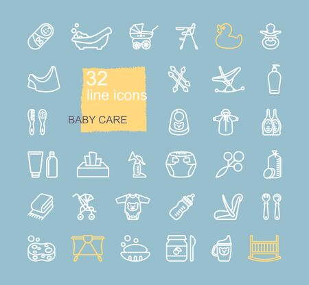Linear icons on the theme of child care. Feeding and bathing of newborns