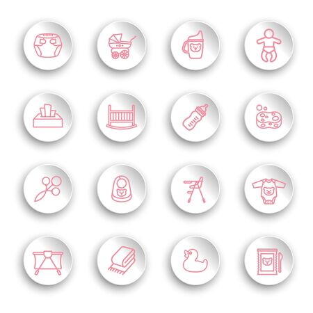 Baby care line icon set on white stickers with transparent shadows. Vector illustration