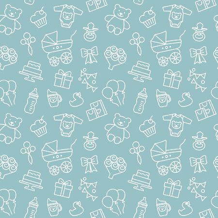 Seamless vector background on the theme of celebrating a baby shower Archivio Fotografico - 137884247
