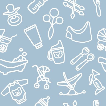 Seamless background with linear baby care symbols. Vector pattern