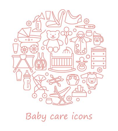 Baby care. Feeding and bathing of newborns. Set of linear icons in the form of a circle Illusztráció
