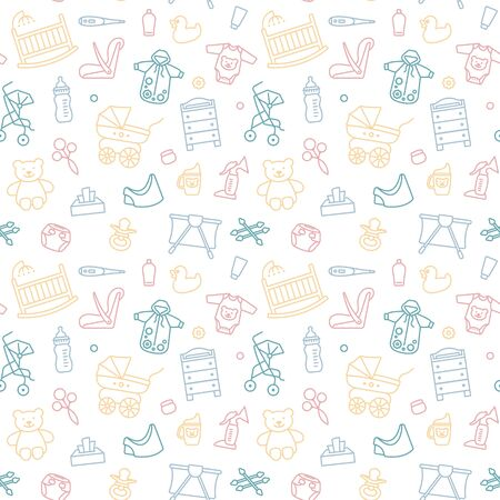 Seamless background with linear baby care symbols