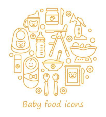 Ensemble d'icônes vectorielles sur le thème de l'alimentation des bébés. Icônes de ligne sous la forme d'un cercle