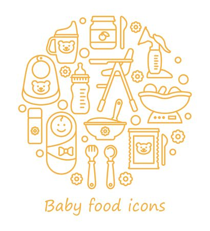 Set of vector icons on the theme of feeding babies. Line icons in the form of a circle