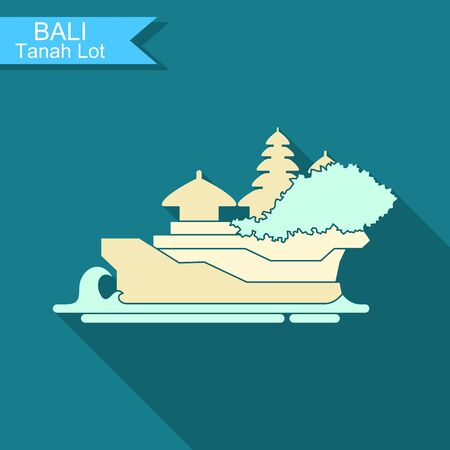 Tanakh Lot. The temple on the Bali. Indonesia. Stylized flat vector icon