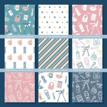 Set of seamless vector backgrounds on the theme of baby feeding