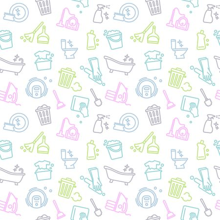 Seamless background of cleaning and housework. Vector Illustration Ilustración de vector