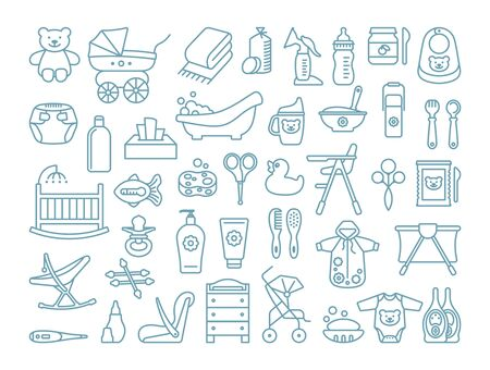 Alimentation, bain et soins de bébé. Ensemble d'icônes linéaires. Vêtements, meubles, équipements et accessoires