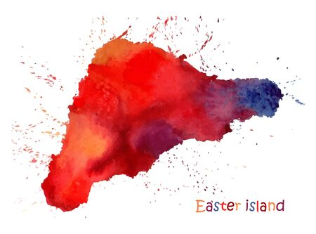 Watercolor map of Easter island. Stylized image with spots and splashes of paint. Vector illustration Illustration