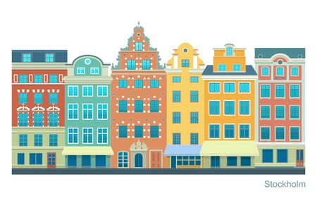Stockholm - Stortorget place in Gamla stan. Stylized flat highly detailed illustration of an old European town