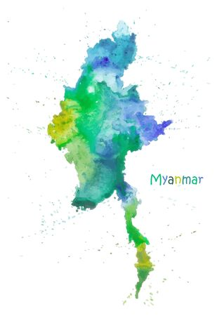 Watercolor map of Myanmar. Stylized image with spots and splashes of paint Vector Illustration