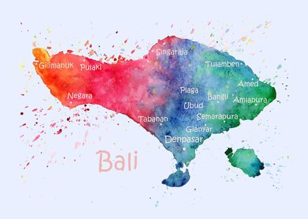 Watercolor map of Bali with cities. Stylized image with spots and splashes of paint