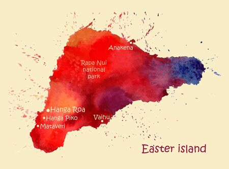 Watercolor map of Easter island with localities. Stylized image with spots and splashes of paint