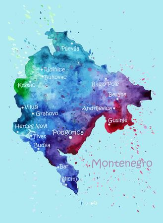 Watercolor map of Montenegro with cities. Stylized image with spots and splashes of paint