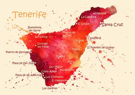 Watercolor map of Tenerife with cities. Stylized image with spots and splashes of paint