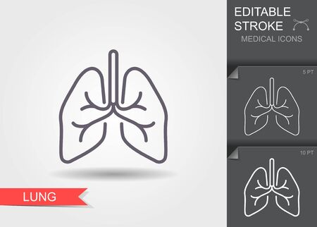 Lungs. Line icon with editable stroke. Vector illustration