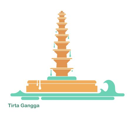 Water Palace of Tirta Gangga. Landmark in Bali, Indonesia. Flat vector icon 写真素材 - 143710314