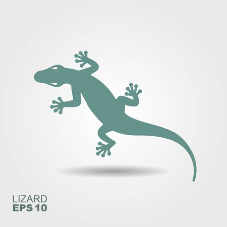 Lizard. Flat monochrome icon with a shadow. Vector illustration 向量圖像