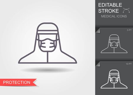 Medical scientist, bacteriologist, doctor with protective mask and protective clothes. Line icon with editable stroke Ilustração