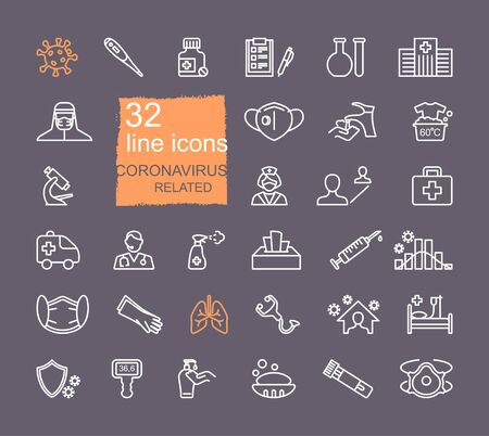 Collection of icons related to coronavirus. Prevention, protection, treatment