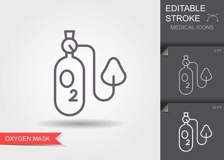 Oxygen mask. Linear medical symbols with editable stroke Banque d'images - 144078630