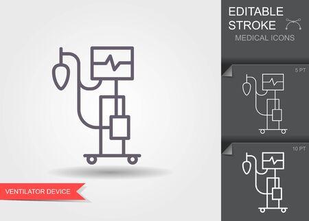 Medical ventilator. Linear medical symbols with editable stroke
