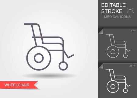 Wheelchair. Linear medical symbols with editable stroke