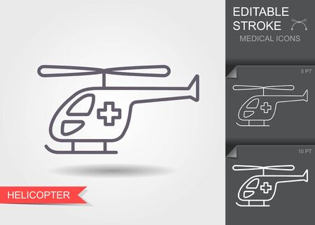 Ambulance helicopter. Linear medical symbols with editable stroke