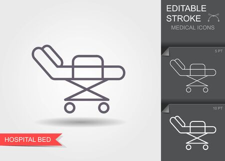 Hospital bed. Line icon with editable stroke. Vector illustration 向量圖像