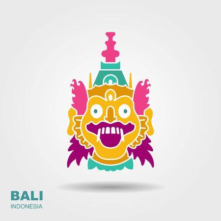 Barong. Traditional ritual Balinese mask. Flat icon 向量圖像