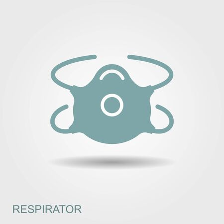Respiratory protection mask vector illustration. Flat icon with shadow Ilustração