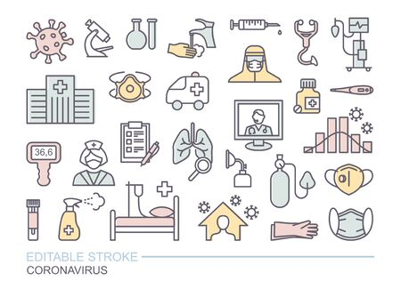 Collection of icons related to coronavirus. Prevention, protection, treatment. Linear icons with editable stroke