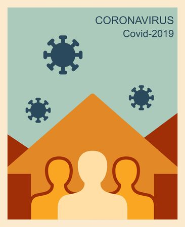 Stay at home, save lives, social distancing concept. Coronavirus protection flat illustration