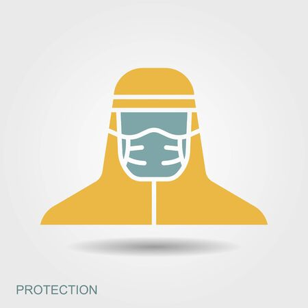 Medical scientist, bacteriologist, doctor with protective mask and protective clothes. Flat icon with shadow