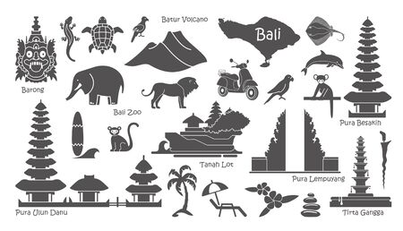 Island of Bali, Indonesia icons set. Attractions, flat design. Tourism in Bali, isolated vector illustration. Traditional symbols Ilustração