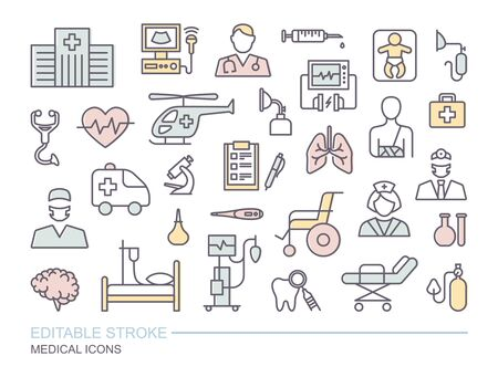 Set of medical icons. Thin linear vector symbols on the theme of diagnostics, treatment, and hospitals. Linear icons with editable stroke Ilustração